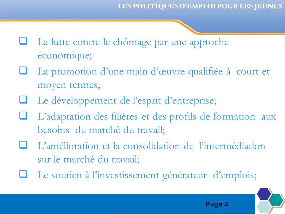 Page 4 La lutte contre le chômage par une approche économique; La promotion dune main dœuvre qualifiée à court et moyen termes; Le développement de lesprit dentreprise; Ladaptation des filières et des profils de formation aux besoins du marché du travail; Lamélioration et la consolidation de lintermédiation sur le marché du travail; Le soutien à linvestissement générateur demplois; LES POLITIQUES DEMPLOI POUR LES JEUNES