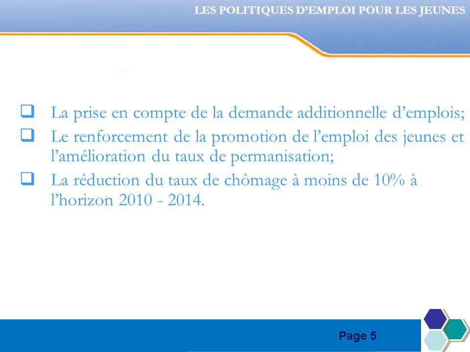 Page 5 La prise en compte de la demande additionnelle demplois; Le renforcement de la promotion de lemploi des jeunes et lamélioration du taux de permanisation; La réduction du taux de chômage à moins de 10% à lhorizon 2010 - 2014.