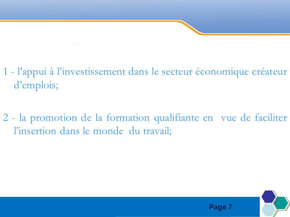 Page 7 1 - lappui à linvestissement dans le secteur économique créateur demplois; 2 - la promotion de la formation qualifiante en vue de faciliter linsertion dans le monde du travail;