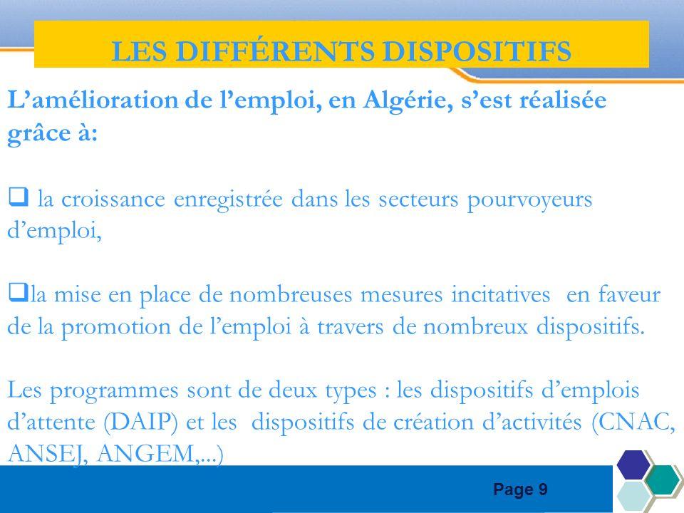 Page 9 Lamélioration de lemploi, en Algérie, sest réalisée grâce à: la croissance enregistrée dans les secteurs pourvoyeurs demploi, la mise en place de nombreuses mesures incitatives en faveur de la promotion de lemploi à travers de nombreux dispositifs.