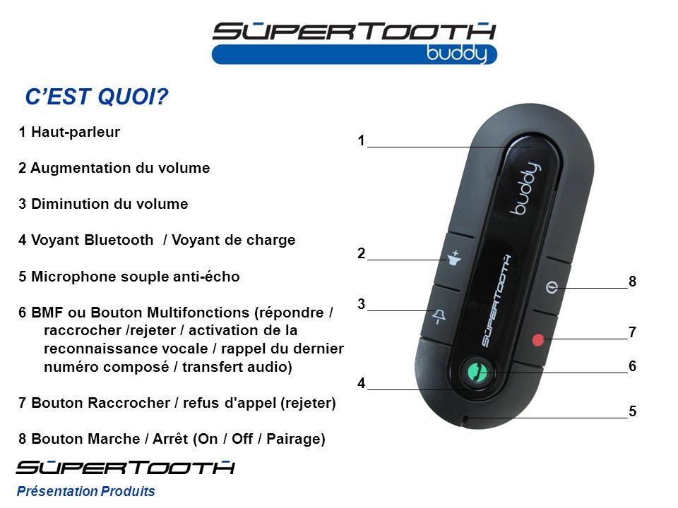 CEST QUOI? 1 Haut-parleur 2 Augmentation du volume 3 Diminution du volume 4 Voyant Bluetooth / Voyant de charge 5 Microphone souple anti-écho 6 BMF ou