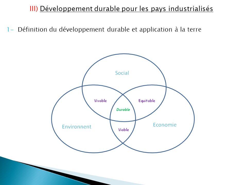 III) Développement durable pour les pays industrialisés 1- Définition du développement durable et application à la terre