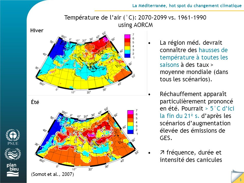 3 La Méditerranée, hot spot du changement climatique Température de lair (°C): 2070-2099 vs.