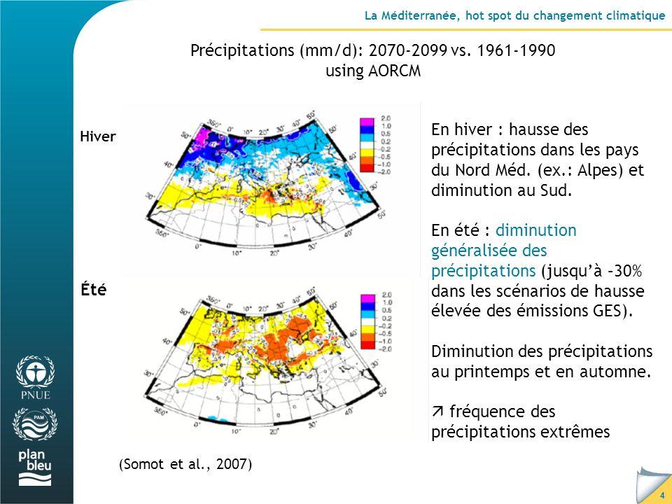 15 Conclusion La Méditerranée, « hot spot » du changement climatique de part lampleur des changements physiques attendus… … et les risques en termes de pertes économiques, humaines et de biodiversité, Nécessité de développer des scénarii en tenant compte de lhétérogénéité hydrologique au sein du BV Med, Pays du Sud et de lEst : les plus touchés par la baisse de la disponibilité et de la qualité des ressources en eau, Une nécessaire adaptation… en commençant par une utilisation plus rationnelle de la ressource en eau