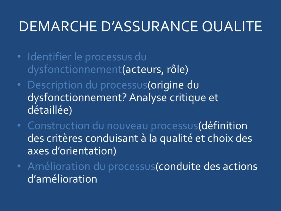DEMARCHE DASSURANCE QUALITE Identifier le processus du dysfonctionnement(acteurs, rôle) Description du processus(origine du dysfonctionnement.