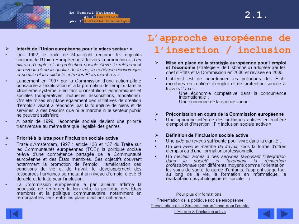 Lapproche européenne de linsertion / inclusion Intérêt de lUnion européenne pour le «tiers secteur » Dès 1992, le traité de Maastricht renforce les ob