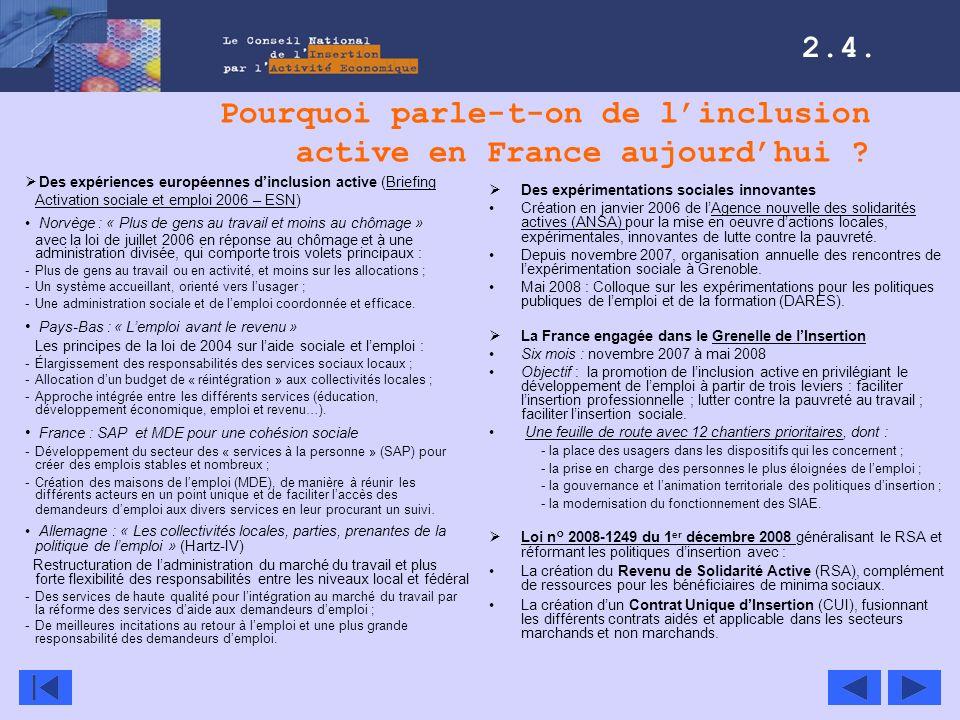 Pourquoi parle-t-on de linclusion active en France aujourdhui ? Des expériences européennes dinclusion active (Briefing Activation sociale et emploi 2