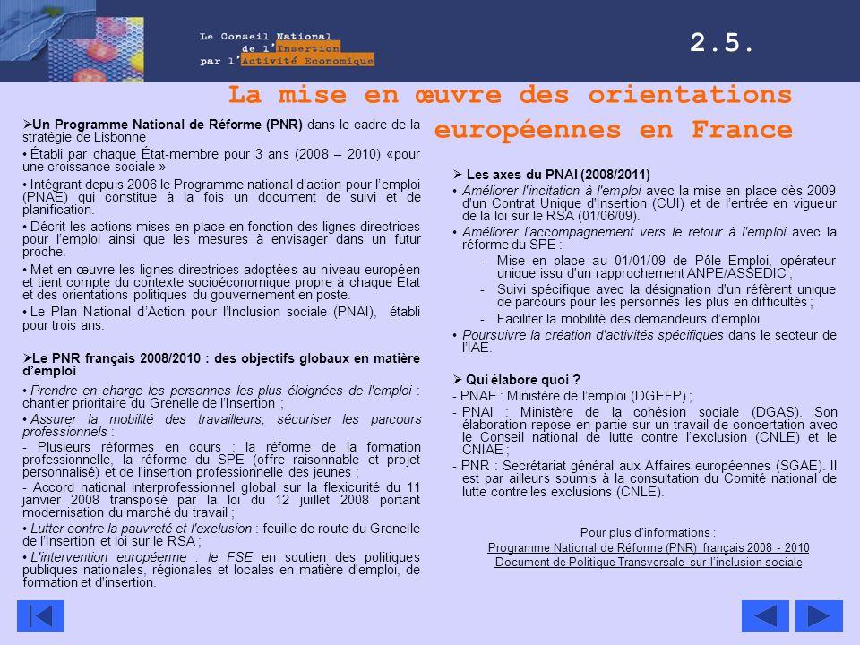 La mise en œuvre des orientations européennes en France Un Programme National de Réforme (PNR) dans le cadre de la stratégie de Lisbonne Établi par ch