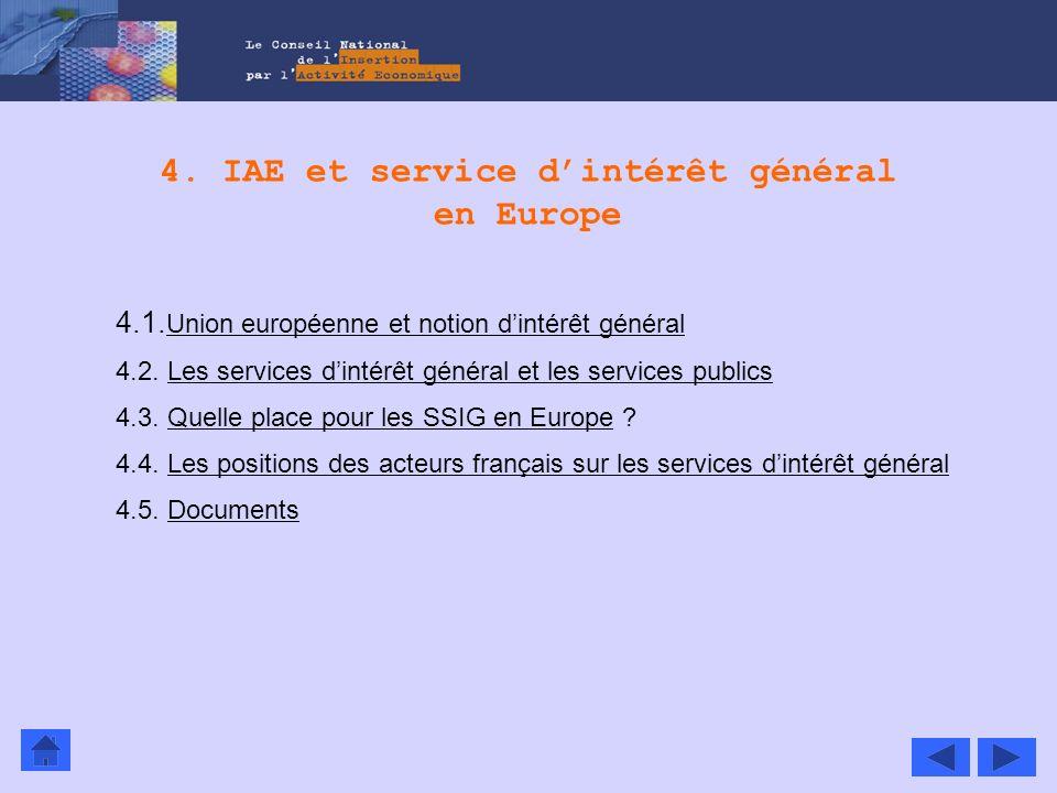 4. IAE et service dintérêt général en Europe 4.1. Union européenne et notion dintérêt général Union européenne et notion dintérêt général 4.2. Les ser
