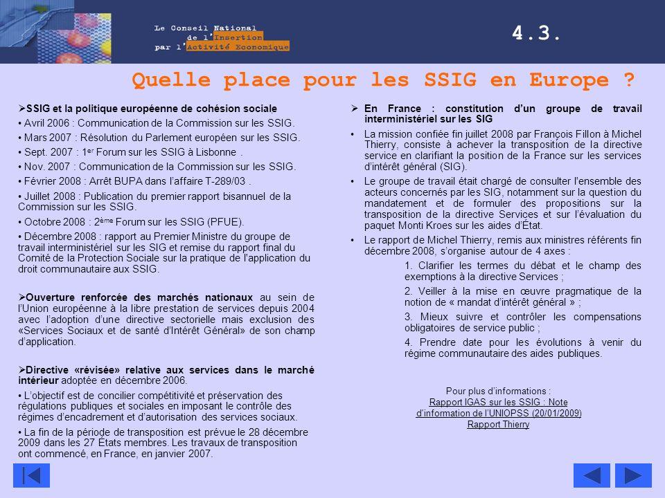 Quelle place pour les SSIG en Europe ? 4.3. En France : constitution dun groupe de travail interministériel sur les SIG La mission confiée fin juillet