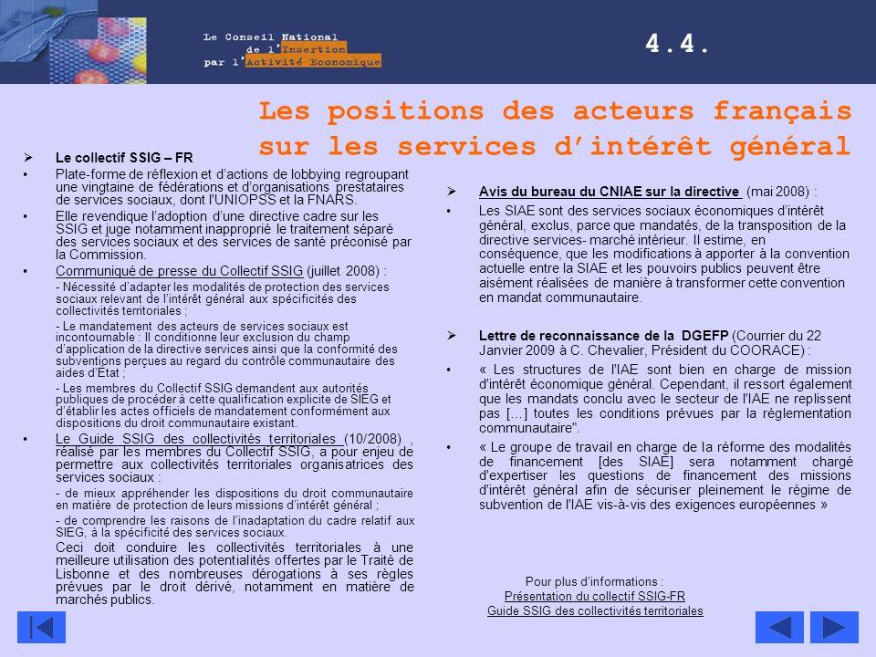 Les positions des acteurs français sur les services dintérêt général Le collectif SSIG – FR Plate-forme de réflexion et dactions de lobbying regroupan