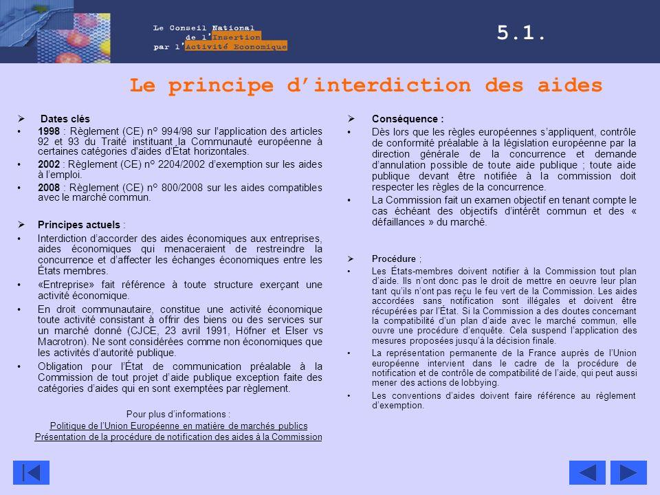 Le principe dinterdiction des aides Dates clés 1998 : Règlement (CE) n° 994/98 sur l'application des articles 92 et 93 du Traité instituant la Communa