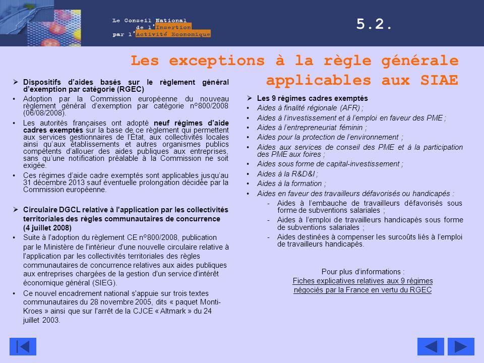 Les exceptions à la règle générale applicables aux SIAE 5.2. Les 9 régimes cadres exemptés Aides à finalité régionale (AFR) ; Aides à linvestissement