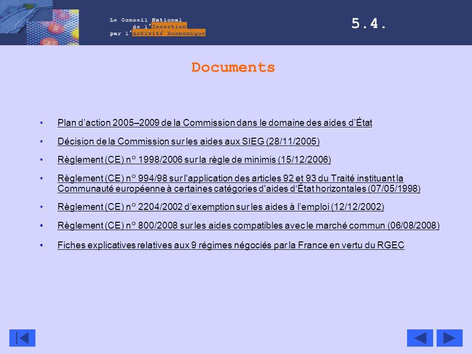 Documents Plan daction 2005–2009 de la Commission dans le domaine des aides dÉtat Décision de la Commission sur les aides aux SIEG (28/11/2005) Règlem
