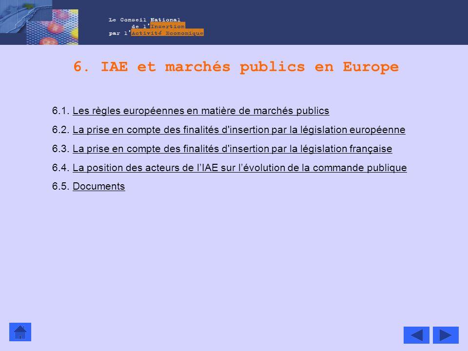 6. IAE et marchés publics en Europe 6.1. Les règles européennes en matière de marchés publicsLes règles européennes en matière de marchés publics 6.2.