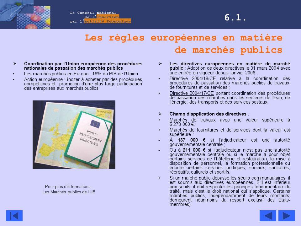 Les règles européennes en matière de marchés publics Coordination par lUnion européenne des procédures nationales de passation des marchés publics Les