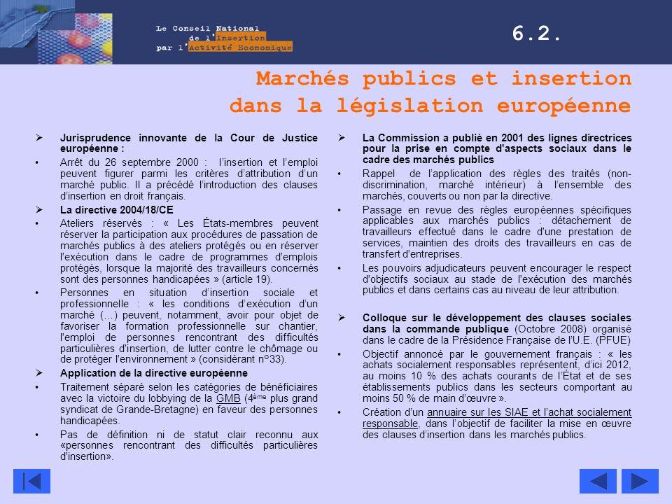 Marchés publics et insertion dans la législation européenne Jurisprudence innovante de la Cour de Justice européenne : Arrêt du 26 septembre 2000 : li