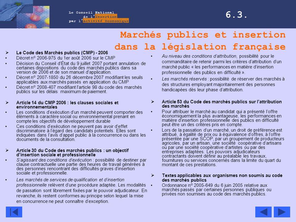 Marchés publics et insertion dans la législation française 6.3. Le Code des Marchés publics (CMP) - 2006 Décret n° 2006-975 du 1er août 2006 sur le CM