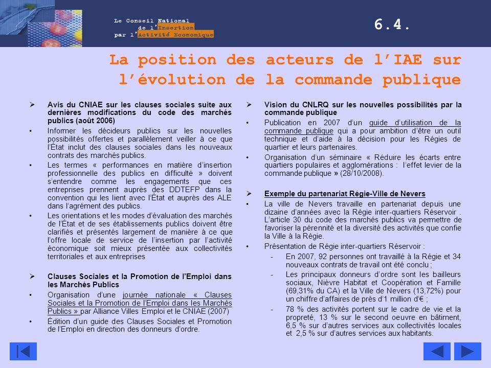La position des acteurs de lIAE sur lévolution de la commande publique Avis du CNIAE sur les clauses sociales suite aux dernières modifications du cod