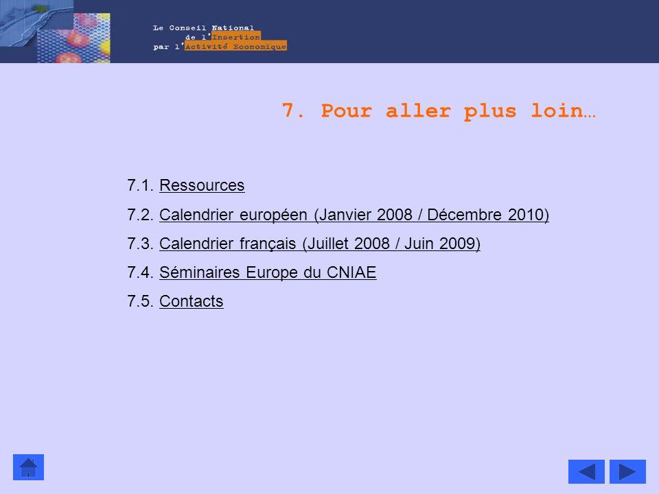 7. Pour aller plus loin… 7.1. RessourcesRessources 7.2. Calendrier européen (Janvier 2008 / Décembre 2010)Calendrier européen (Janvier 2008 / Décembre