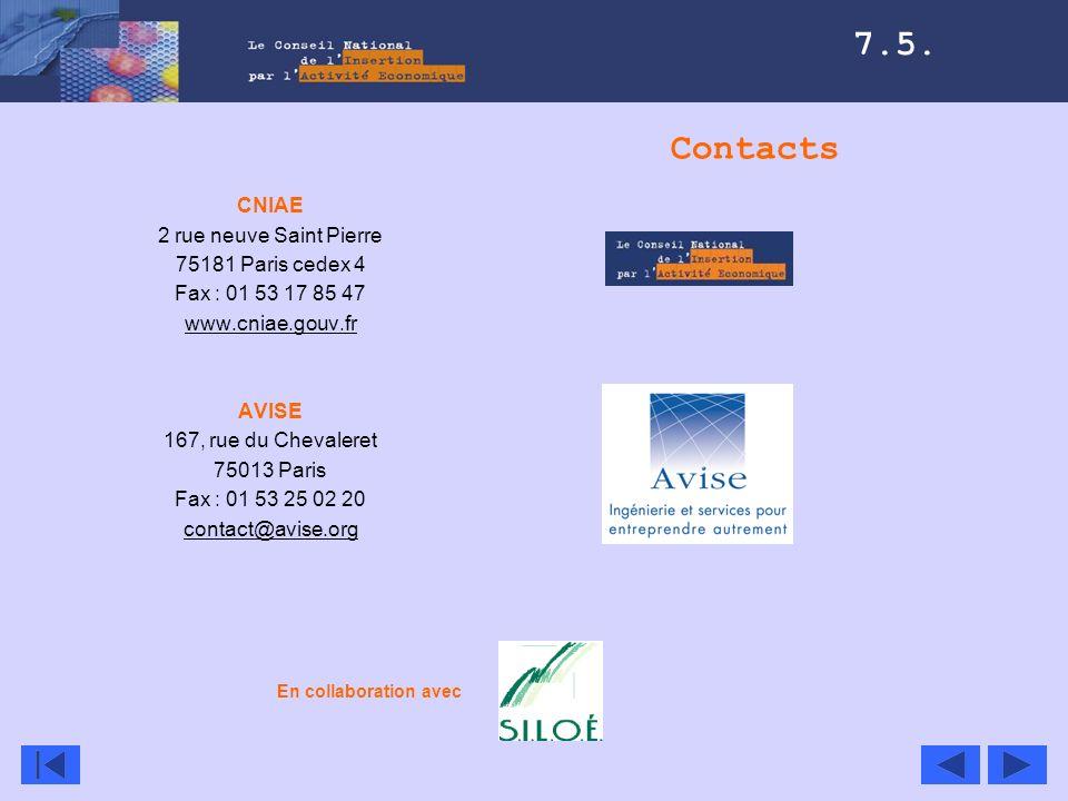 Contacts CNIAE 2 rue neuve Saint Pierre 75181 Paris cedex 4 Fax : 01 53 17 85 47 www.cniae.gouv.fr AVISE 167, rue du Chevaleret 75013 Paris Fax : 01 5