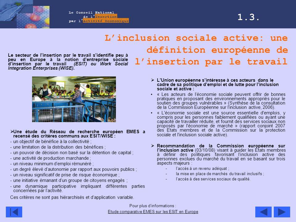 Linclusion sociale active: une définition européenne de linsertion par le travail LUnion européenne sintéresse à ces acteurs dans le cadre de sa polit