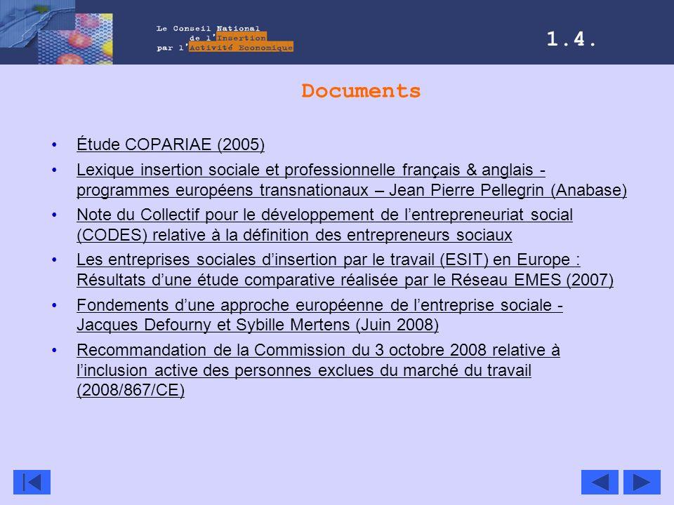 Documents Étude COPARIAE (2005) Lexique insertion sociale et professionnelle français & anglais - programmes européens transnationaux – Jean Pierre Pe