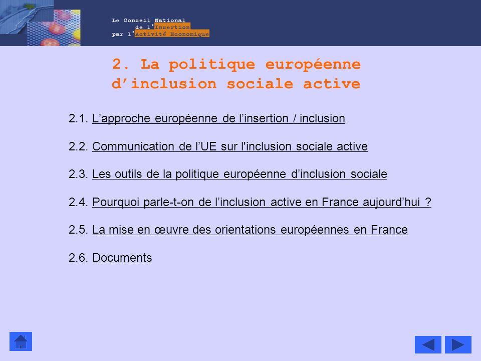 2. La politique européenne dinclusion sociale active 2.1. Lapproche européenne de linsertion / inclusionLapproche européenne de linsertion / inclusion