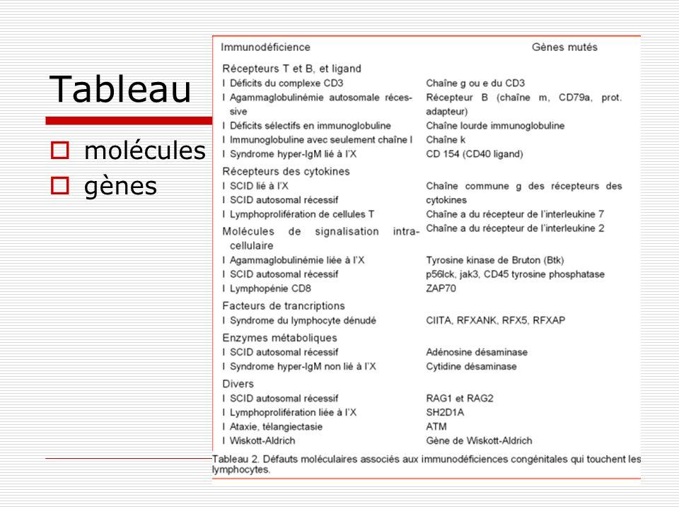 Tableau molécules gènes