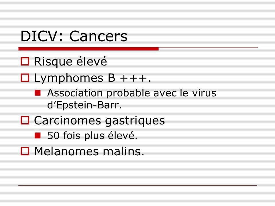 DICV: Cancers Risque élevé Lymphomes B +++. Association probable avec le virus dEpstein-Barr. Carcinomes gastriques 50 fois plus élevé. Melanomes mali