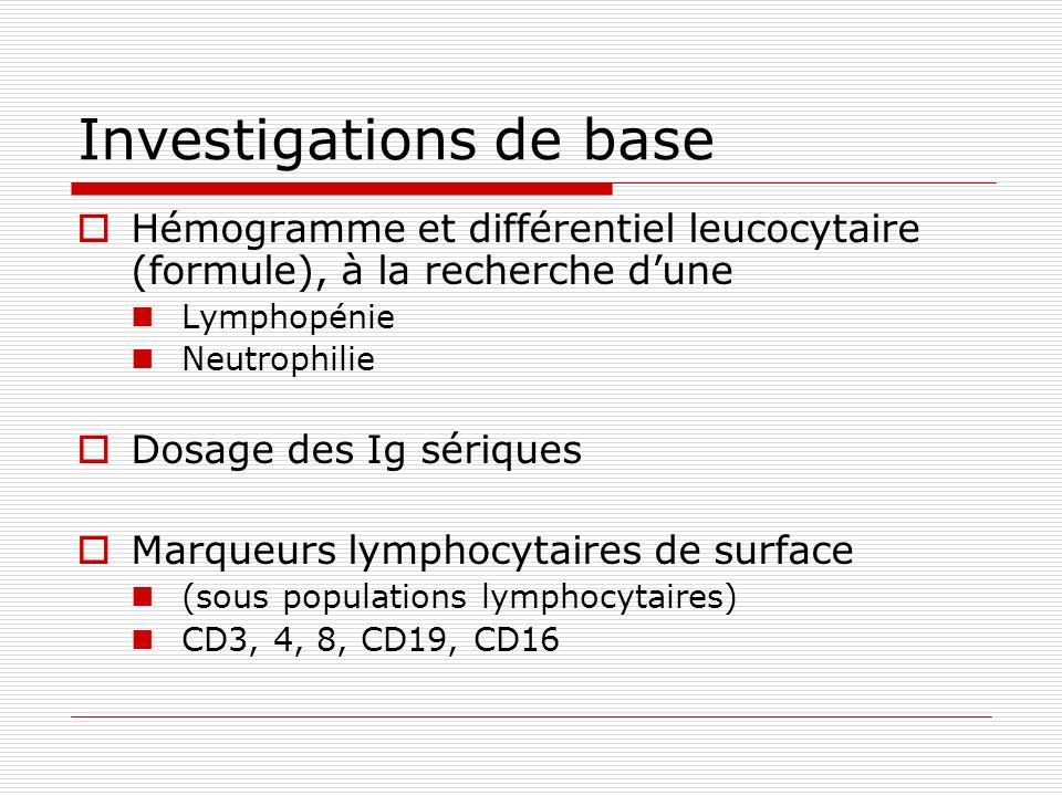 Investigations de base Hémogramme et différentiel leucocytaire (formule), à la recherche dune Lymphopénie Neutrophilie Dosage des Ig sériques Marqueur