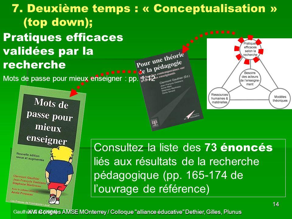 XVI Congrès AMSE MOnterrey / Colloque alliance éducative Dethier, Gilles, Plunus 14 Pratiques efficaces validées par la recherche Gauthier & al (2004) 7.
