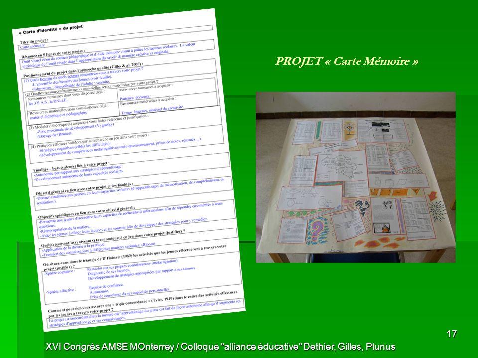 XVI Congrès AMSE MOnterrey / Colloque alliance éducative Dethier, Gilles, Plunus 17 PROJET « Carte Mémoire »