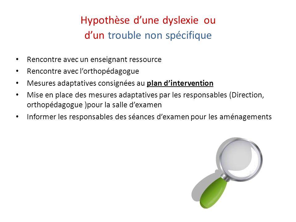 Hypothèse dune dyslexie ou dun trouble non spécifique Rencontre avec un enseignant ressource Rencontre avec lorthopédagogue Mesures adaptatives consig