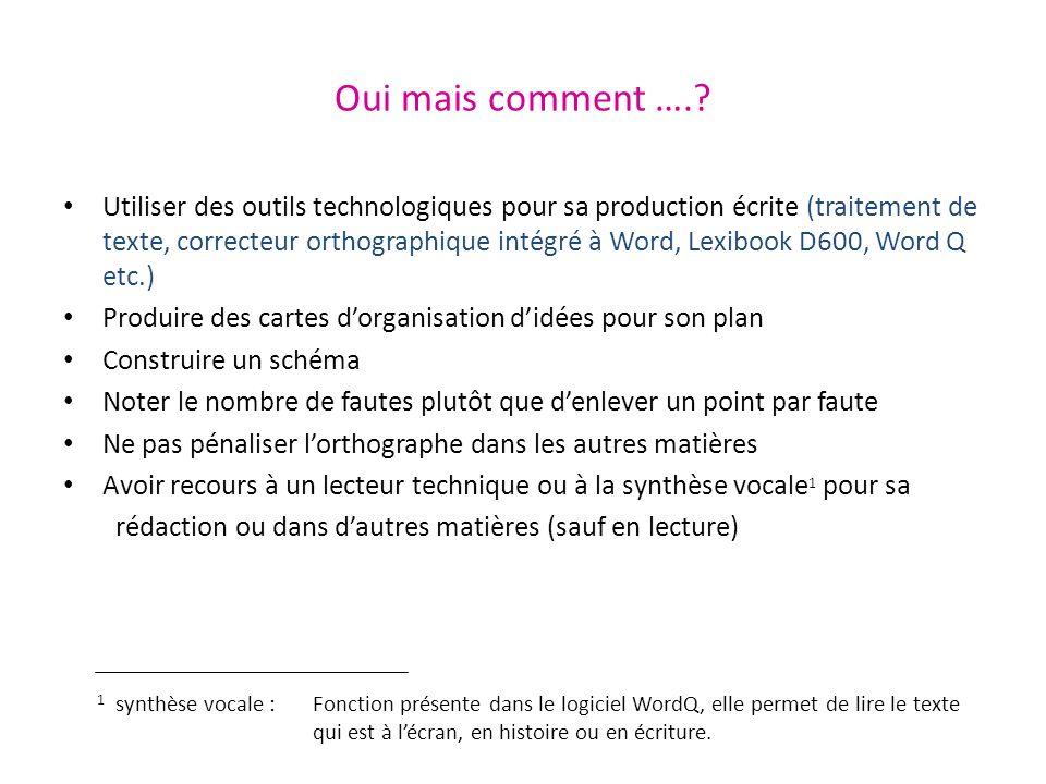 Oui mais comment ….? Utiliser des outils technologiques pour sa production écrite (traitement de texte, correcteur orthographique intégré à Word, Lexi