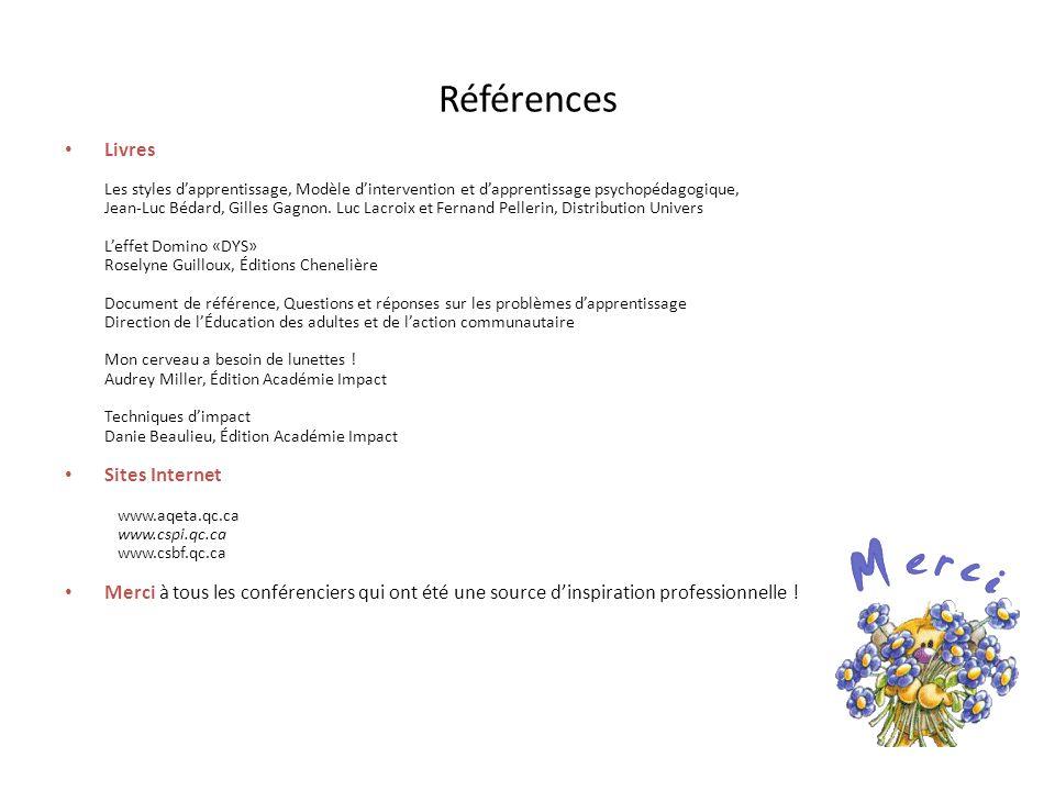 Références Livres Les styles dapprentissage, Modèle dintervention et dapprentissage psychopédagogique, Jean-Luc Bédard, Gilles Gagnon. Luc Lacroix et