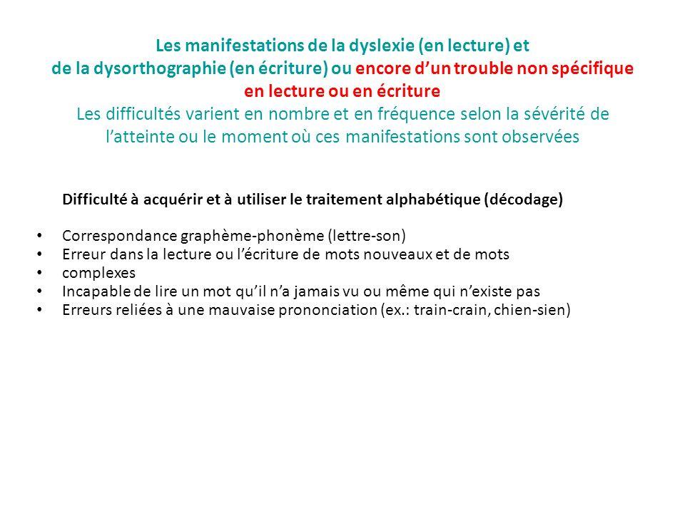 Les manifestations de la dyslexie (en lecture) et de la dysorthographie (en écriture) ou encore dun trouble non spécifique en lecture ou en écriture L