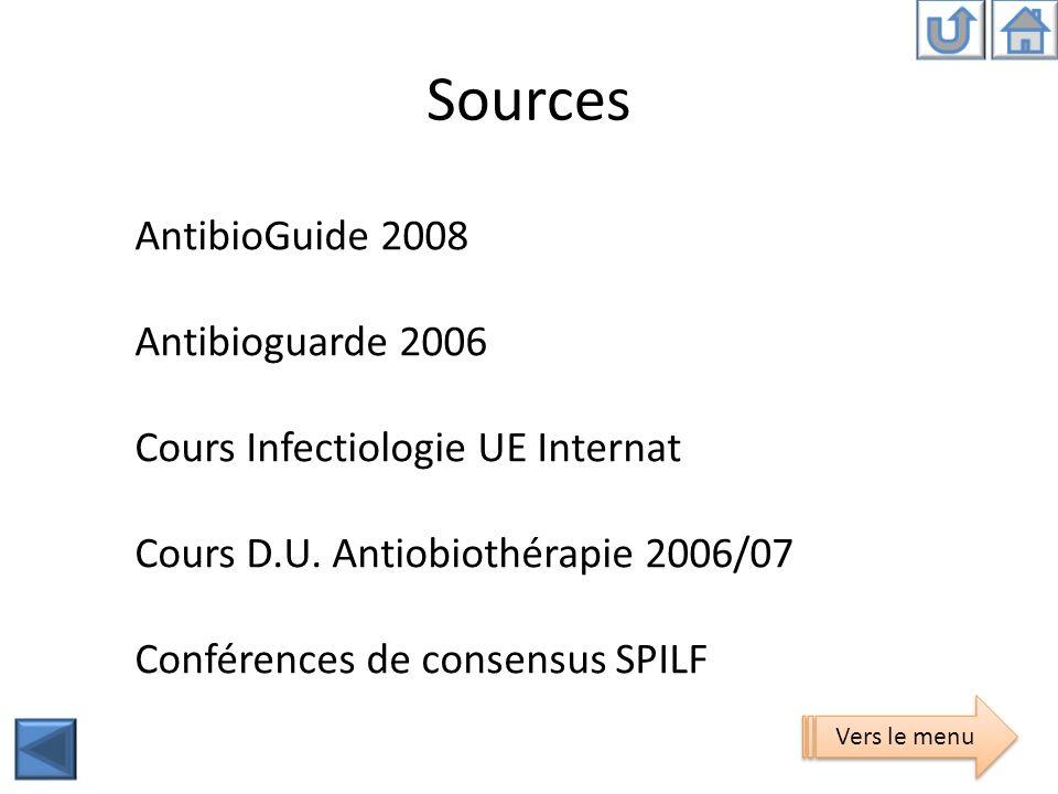 Sources AntibioGuide 2008 Antibioguarde 2006 Cours Infectiologie UE Internat Cours D.U. Antiobiothérapie 2006/07 Conférences de consensus SPILF Vers l