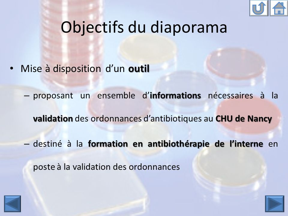 Objectifs du diaporama outil Mise à disposition dun outil informations validationCHU de Nancy – proposant un ensemble dinformations nécessaires à la validation des ordonnances dantibiotiques au CHU de Nancy formation en antibiothérapie de linterne – destiné à la formation en antibiothérapie de linterne en poste à la validation des ordonnances