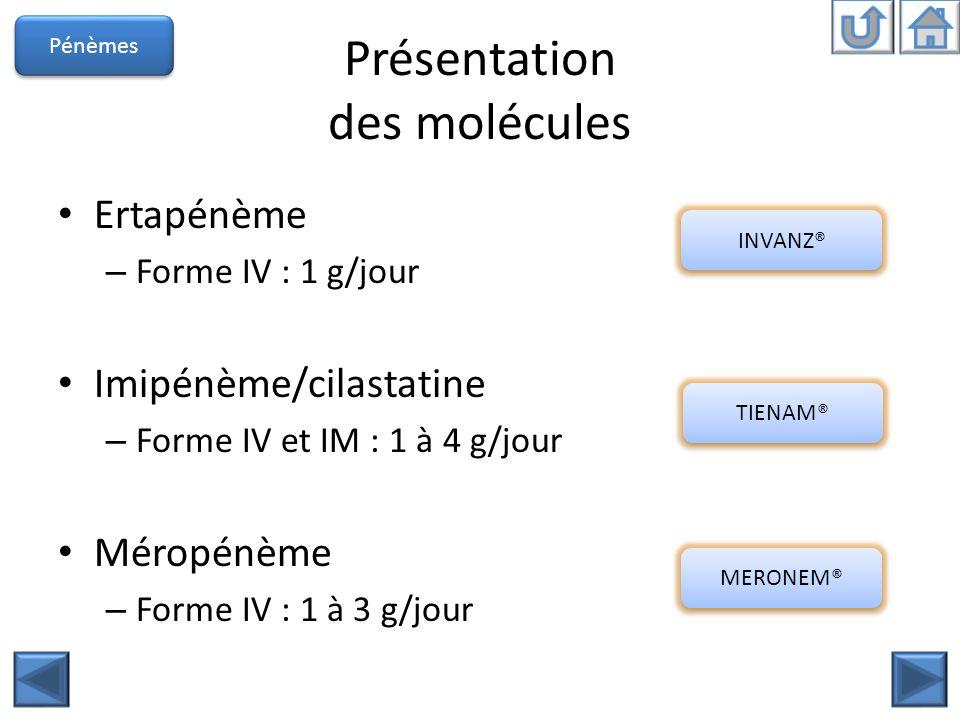 Présentation des molécules Ertapénème – Forme IV : 1 g/jour Imipénème/cilastatine – Forme IV et IM : 1 à 4 g/jour Méropénème – Forme IV : 1 à 3 g/jour
