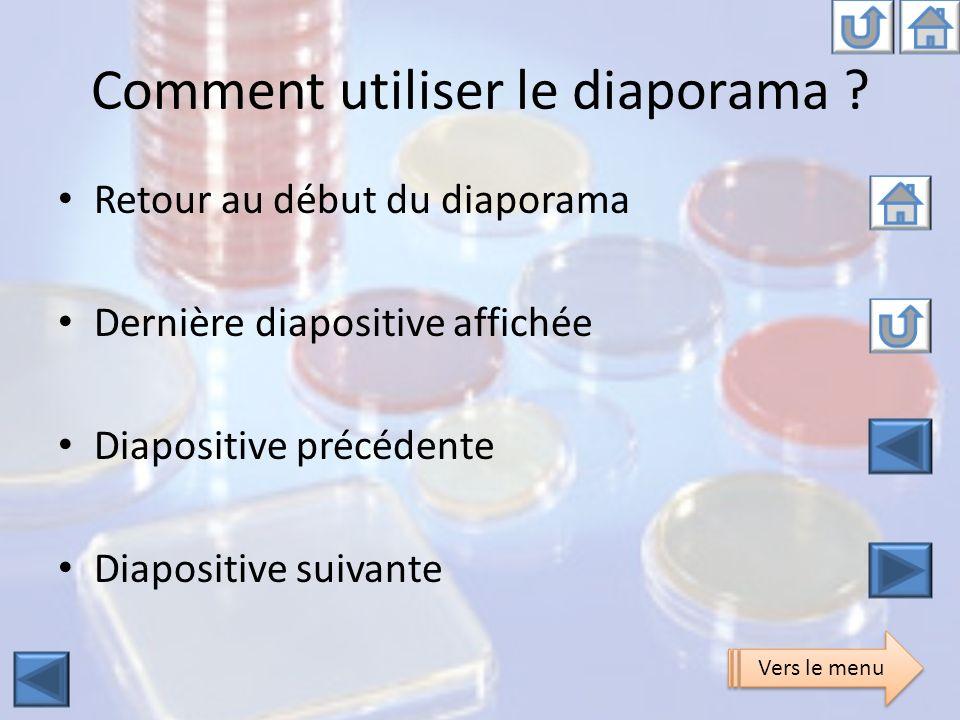 Comment utiliser le diaporama ? Retour au début du diaporama Dernière diapositive affichée Diapositive précédente Diapositive suivante Vers le menu
