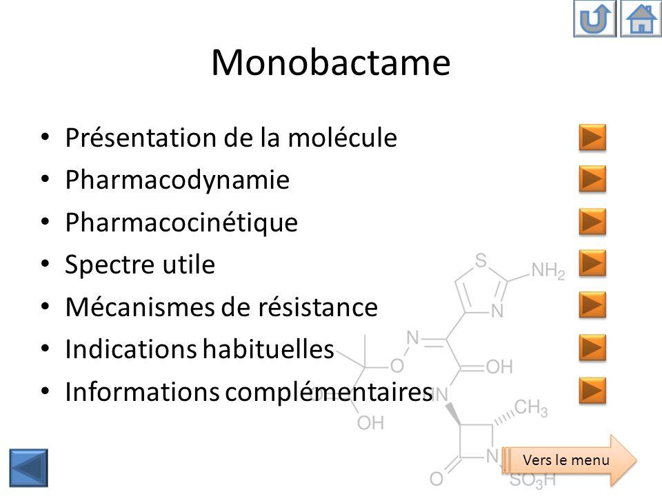 Monobactame Présentation de la molécule Pharmacodynamie Pharmacocinétique Spectre utile Mécanismes de résistance Indications habituelles Informations