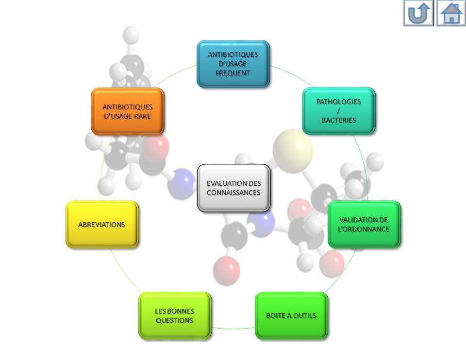 Antibiotiques dusage courant β-lactamines Fluoroquinolones Aminosides Macrolides et apparentés (M.L.S.K.) Glycopeptides Tétracyclines Vers le menu