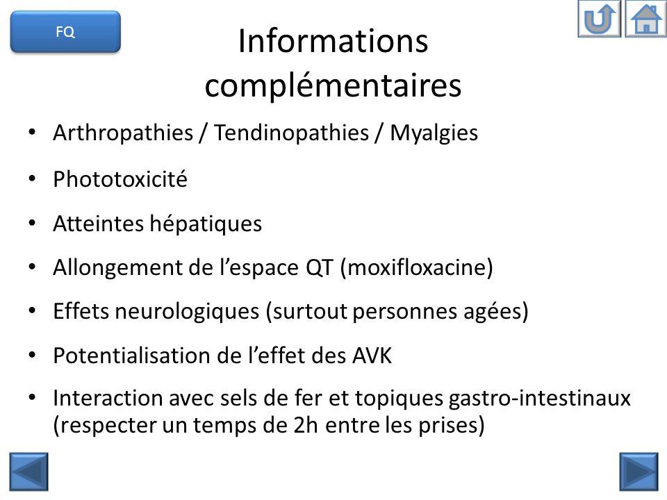 Informations complémentaires Arthropathies / Tendinopathies / Myalgies Phototoxicité Atteintes hépatiques Allongement de lespace QT (moxifloxacine) Ef