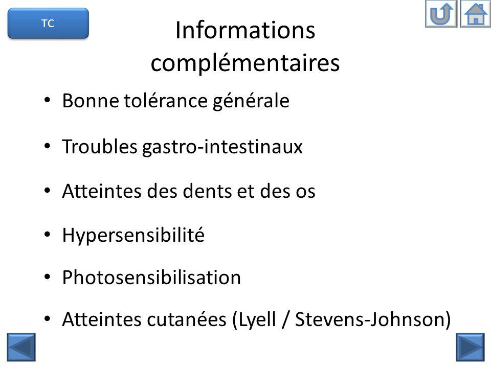 Informations complémentaires Bonne tolérance générale Troubles gastro-intestinaux Atteintes des dents et des os Hypersensibilité Photosensibilisation