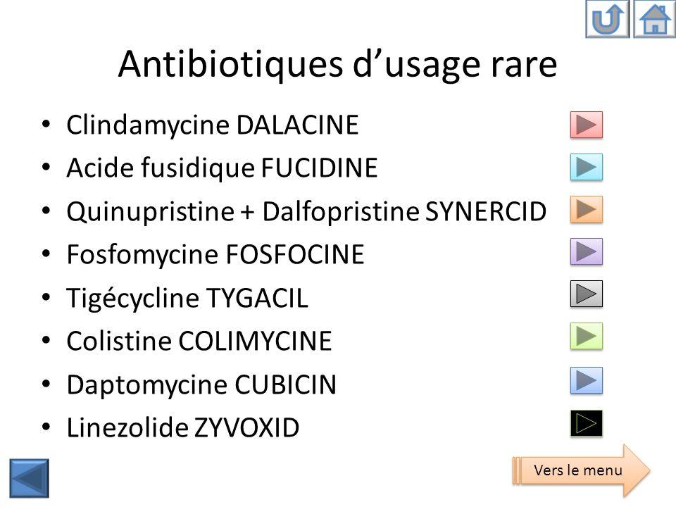 Antibiotiques dusage rare Clindamycine DALACINE Acide fusidique FUCIDINE Quinupristine + Dalfopristine SYNERCID Fosfomycine FOSFOCINE Tigécycline TYGA