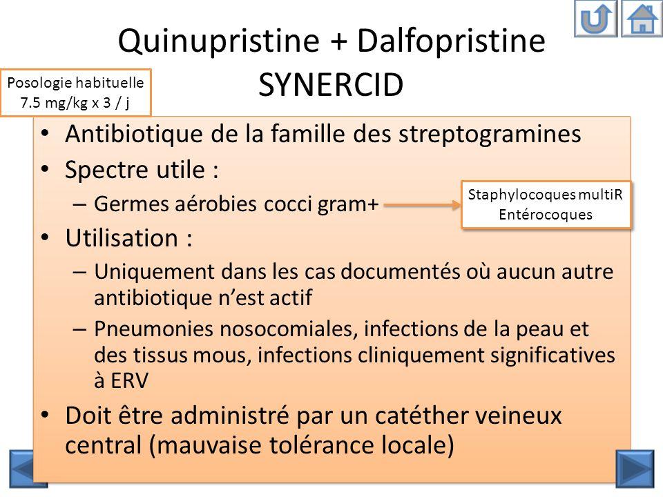 Quinupristine + Dalfopristine SYNERCID Antibiotique de la famille des streptogramines Spectre utile : – Germes aérobies cocci gram+ Utilisation : – Un
