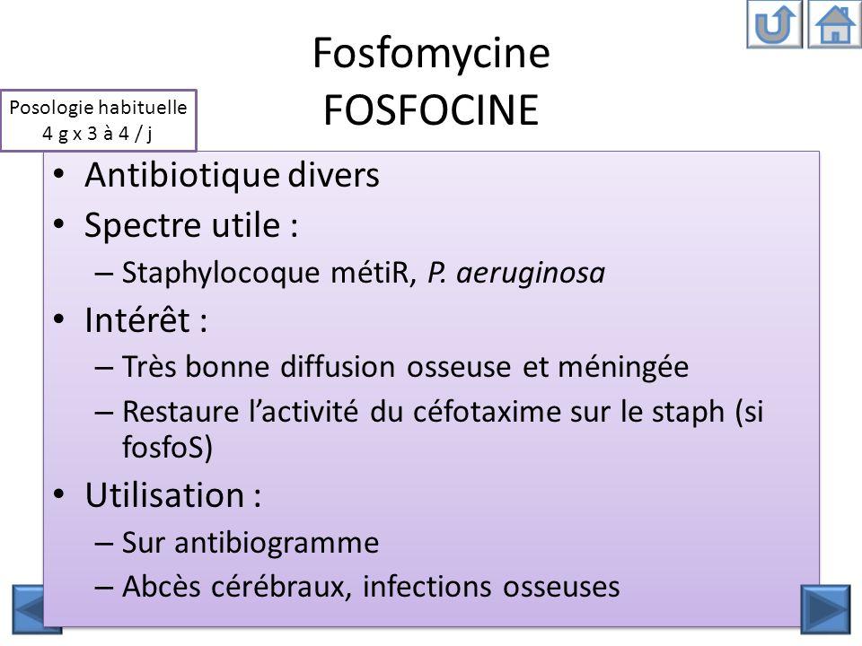 Fosfomycine FOSFOCINE Antibiotique divers Spectre utile : – Staphylocoque métiR, P. aeruginosa Intérêt : – Très bonne diffusion osseuse et méningée –