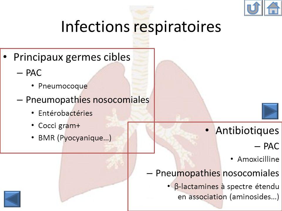 Infections respiratoires Antibiotiques – PAC Amoxicilline – Pneumopathies nosocomiales β-lactamines à spectre étendu en association (aminosides…) Prin