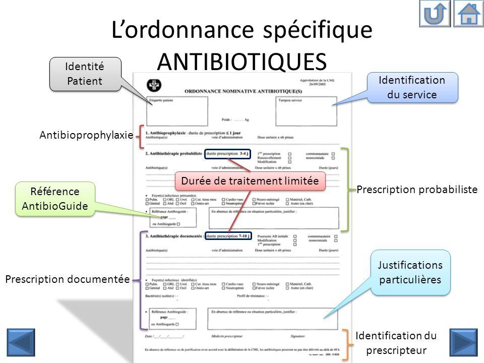 Lordonnance spécifique ANTIBIOTIQUES Identité Patient Identification du service Antibioprophylaxie Prescription probabiliste Prescription documentée I